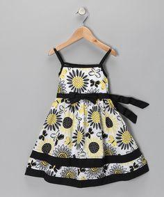 Look what I found on #zulily! Black & White Sunflower Dress - Infant by Nannette #zulilyfinds
