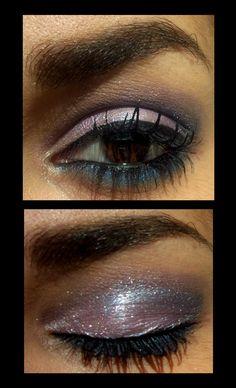 make up rosa e blu con glitter