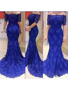 Royal Blue Lace Prom Dress Evening Gown With Half Sleeves