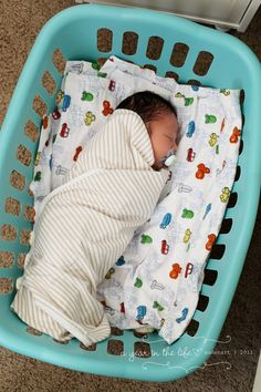 Idk why I never thought to do this-we had a cumbersome bassinet. A laundry basket would be portable too so you could move baby into whatever room or house you need.. Including the crib! Could even get one of those laundry basket covers to protect little fingers. Love this idea AND when older--> use in the tub for bath time like other posts on Pinterest.