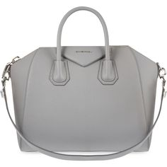 Givenchy Antigona sugar medium soft-grained leather tote ($2,470) ❤ liked on Polyvore featuring bags, handbags, tote bags, purses, accessories, grey purse, shoulder strap handbags, purse tote, tote purses and over the shoulder purse