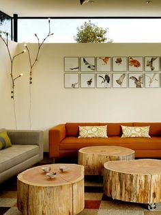 stump coffee tables, outdoor lights, bird art
