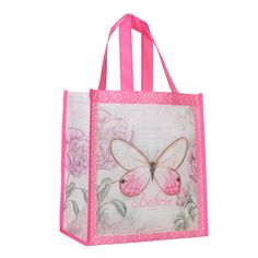 Express your faith with gifts such as this Shopping Bag Butterfly Pink, only at Christian Art Gifts. Pink Butterfly, Butterfly Design, Christian Art Gifts, Bag Packaging, Gift Bags, Gifts For Mom, Screen Printing, Shopping Bag, Reusable Tote Bags