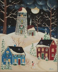 White Christmas Folk Art Print by KimsCottageArt on Etsy, $12.95