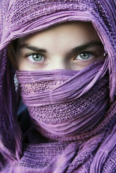 veils, window, color, violet, young women, green eyes, beauty, hijab, portrait