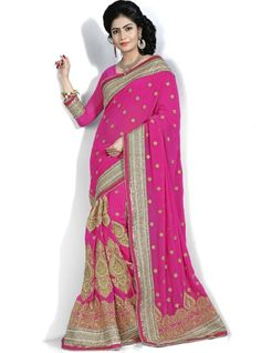 Shandaar Pink Embroidery Work Catonic Georgette Designer Party Wear Saree