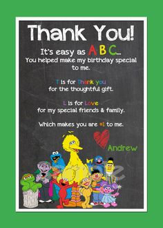 Sesame Street Thank you card by mememommydesigns on Etsy, $10.00