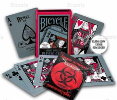 Do you have a Goth side? Bicycle® Tragic Royalty playing cards do, too! The Tragic Royalty Deck is designed with bold black and dark-red backs, with whimsical and ghoulish court cards, each with separate impish poses and the Ace of Spades tangled in a. Bicycle Cards, Bicycle Playing Cards, Buy Bicycle, Poker, Casino Night Party, Casino Theme Parties, Tarot, Easy Deck, Magic Tricks