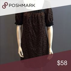 Goldhawk brown lace shift black satin trim Fully lined, gear fit. Looks great with tights and boots. Bow and button detail at sleeves and neck goldhawk Dresses