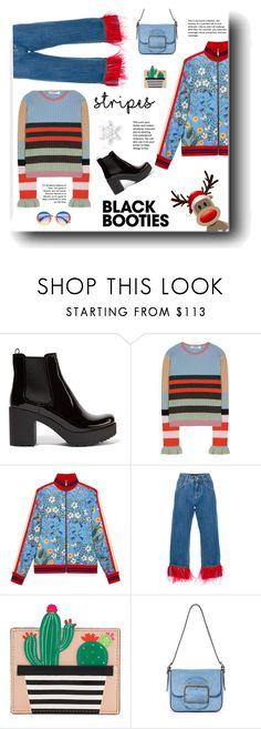 """""""Black Booties"""" by neverboring ❤ liked on Polyvore featuring Prada, Valentino, Gucci, Dolce&Gabbana, Kate Spade, Tory Burch, fringe, stripes, blackbooties and polyvoreeditorial"""