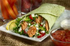 Trade your typical lunch for this flavorful & California Salmon Wrap - you are guaranteed to be the envy of your coworkers. Wrap Recipes, Salmon Recipes, Lunch Recipes, Seafood Recipes, Seafood Meals, Healthy Meals For One, Healthy Snacks, Easy Meals, Healthy Recipes