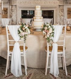 For some couples, simple isn't really their thing, and that's fine. If you're not so 'less is more' then you'll adore these seriously luxe-looking chairs, pictured at Weston Park. The fabric draping is chic on its own, but the addition of the flowers just takes it to the next level. #ChairWedding