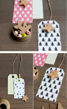 Wooden Star Cut-Out Tags 51 Seriously Adorable Gift Tag Ideas Christmas Gift Tags, All Things Christmas, Diy Christmas, Wooden Stars, Paper Crafts, Diy Crafts, Paper Tags, Card Tags, Cute Gifts