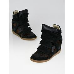 Pre-owned Isabel Marant Black Suede and Tiger Striped Pony Hair Bekett... ($165) ❤ liked on Polyvore featuring shoes, sneakers, suede wedge sneakers, black sneakers, velcro wedge sneakers, wedge sneakers and hidden wedge sneakers