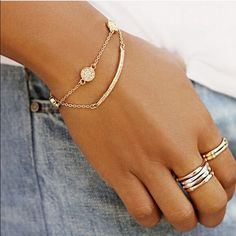 LAST ONE! Gold pave crystal bracelet circle chain Metal alloy ships immediately last pic shows actual size. Jewelry Bracelets