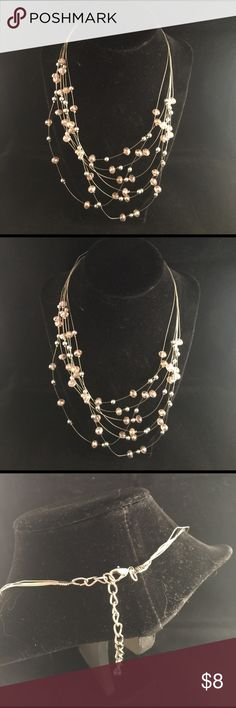 #6oz Pink & Silver Multi-Strands Necklace #d Rose Pink beads & Silver balls Jewelry Necklaces