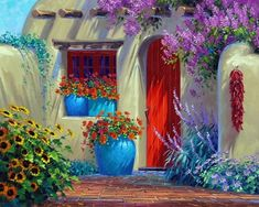Exterior Paint Colors - You want a fresh new look for exterior of your home? Get inspired for your next exterior painting project with our color gallery. All About Best Home Exterior Paint Color Ideas Mexican Art, Mexican Style, Santa Fe Style, Adobe House, Southwest Style, Southwest Art, Spanish Style, Spanish Revival, Windows And Doors