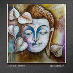 Ganesha Painting, Madhubani Painting, Indian Art Paintings, Modern Art Paintings, Buda Painting, Budha Art, Buddha Artwork, Canvas Painting Tutorials, Buddhist Art