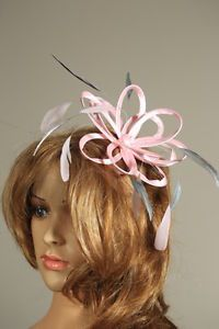 Baby Pink &  Pewter Fascinator Hat Choose any colour satin & feathers wedding
