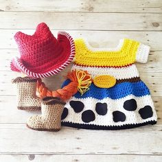 Crochet Baby Girl Crochet Baby Jessie Dress Toy Story Skirt Cowgirl Hat Beanie Braid Cowboy Boots Infant Newborn Baby Photography Photo Prop Baby Shower GiftAvailable from Newbor - Crochet Bebe, Baby Girl Crochet, Crochet Baby Clothes, Crochet Baby Hats, Crochet Gifts, Crochet For Kids, Sewing Baby Clothes, Crochet Braid Pattern, Crochet Patterns