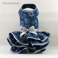 Star of David Hanukkah Dresses for Small Dogs
