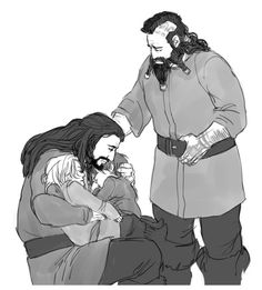 This is right when Dis's husband dies. And she is inconsolable so Thorin is looking after the babies.    Dwalin wants to help, but is mostly useless.<< yep