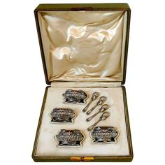 Shop sterling silver and other dining, serveware and glass from the world's best furniture dealers. Dining Furniture, Cool Furniture, Salt Cellars, Condiment Sets, Spoons, French Antiques, Entertaining, Sterling Silver, Box