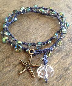 """Crochet """"Mermaid's Treasure"""" Bronze Starfish 2x Wrap Bracelet Beach Chic"""