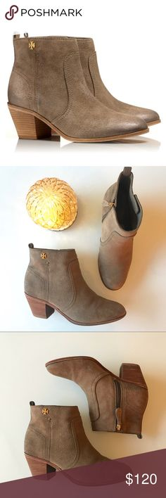 """Tory Burch Leena Suede Booties GUC Tory Burch brown suede booties in the style Leena. They don't photograph great due to the suede and color, but they're really cute in person. They have a 2"""" heel and only signs of wear are on the sole and a little on the toe which are both not really noticeable when wearing. Fit is pretty true to size. Questions and reasonable offers always welcomed! Tory Burch Shoes Ankle Boots & Booties"""