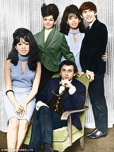 The Ronettes with Phil Spector and Estelle's one-time boyfriend George Harrison in 1964