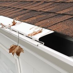 """Solid Gutter Covers (White) -$36.95- Keep leaves and debris out of your gutters Our Solid Gutter Covers are made of rigid PVC and install easily on 4"""", 5"""", and 6"""" metal gutters without tools. Just slide them under the shingles and snap the drip guard onto the lip of the gutter. Water follows the contour of the Cover and enters your gutter though the slots in the channel."""