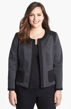 Sejour Mixed Media Jacket (Plus Size) available at #Nordstrom