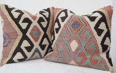 SALE - Pastel Kilim Pillow SET Decorative Mint Green n' Black Handwoven Kilim Pillow Pastel Accent Pillow 16 ' inch Rustic Home Decor