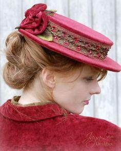 Red velvet boater HatBY JAYA LEE #millinery #hats #HatAcademy