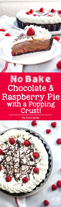 Popping No Bake Chocolate Raspberry Pie -An irresistibly creamy, smooth, and fool-proof dessert with a decadent chocolate pudding filling, with fresh raspberries and a pop rock cookie crust! via @theflavorbender