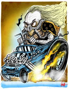 A fun drawing of Immortan Joe in Ed Roth/Ratfink Style. This print measures x 11 and is suitable for framing. Cartoon Rat, Cartoon Pics, Car Drawings, Cartoon Drawings, Ed Roth Art, Monster Car, Pop Culture Art, Truck Art, Biker