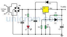 Fuente de voltaje variable de 5 A con LM338 Arduino, Bar Chart, Led, Ideas, Studying, Voltage Regulator, Electronic Schematics, Electronic Circuit, Circuits