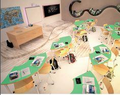 Scuola del futuro, idee arredo scolastico per scuola 3.0 Modern Classroom, 3, Corner Desk, Digital, School, Furniture, Shopping, Home Decor, Classroom