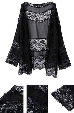 Black Lace Long Sleeve Kimono Coat