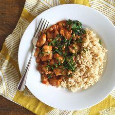 Chicken tikka masala with ramps & kale