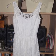 White lace dress LA hearts LA hearts white lace dress XS. Perfect dress for the summer !! Wore 2 times perfect condition just outgrew it but love it!!! LA Hearts Dresses Mini