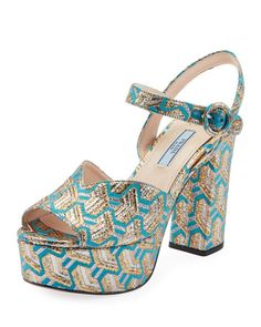 e2ea90bebe3078 PRADA METALLIC BROCADE PLATFORM SANDALS.  prada  shoes Blue Sandals