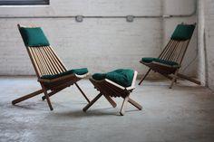 ***ON DECK*** Interesting Vintage Danish Modern Teak Folding Slat Chairs and Ottoman (Denmark) Sticks Furniture, Lawn Furniture, Teak Furniture, Outdoor Furniture, Furniture Design, Modern Furniture, Outdoor Folding Chairs, Wood Folding Chair, Deck Chairs