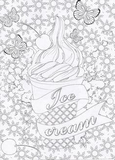 Magazine Coloriage Zen N°1 - coloriage ice cream cupcakes gourmand