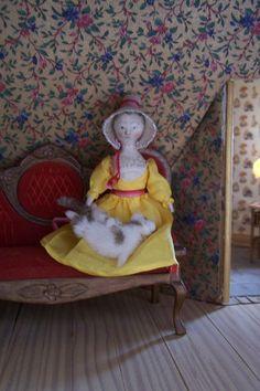 Ooak  TINY Grodnertal Tuck Comb Doll in her Antique Crinoline Poke Bonnet