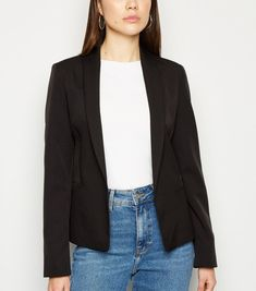 Black Fitted Blazer New Look Black Fitted Blazer, Revere Collar, Teaching Outfits, Celebrity Names, Blazer Outfits, White Tees, New Look, Mom Jeans, Latest Trends