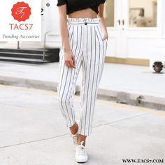 3f51fe9b9fa1 Streetwear striped harem pants capri Ruffle loose casual pants women 2 –  Trending Accessories Trousers Women