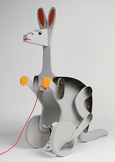"""Wooden jointed Kangaroo pull toy, designed by Alexander Calder, reproduction of the artist's """"action toys"""" series, France, by Vilac. There are great examples of pull toys (including other kangas!) using this same mechanism Alexander Calder, Metal Toys, Wood Toys, Tate Modern Shop, Toys For Girls, Kids Toys, Kinetic Toys, Push Toys, Action Toys"""