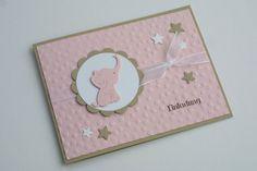 "Karte * Einladung zur Taufe ""Elephant"" Rosa van Das Werk der Feen op DaWanda.com"
