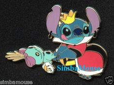 Yes, thats Stitch as the Red Queen, using Lilo's doll and a duckling to play croquet. WANT! disney pins